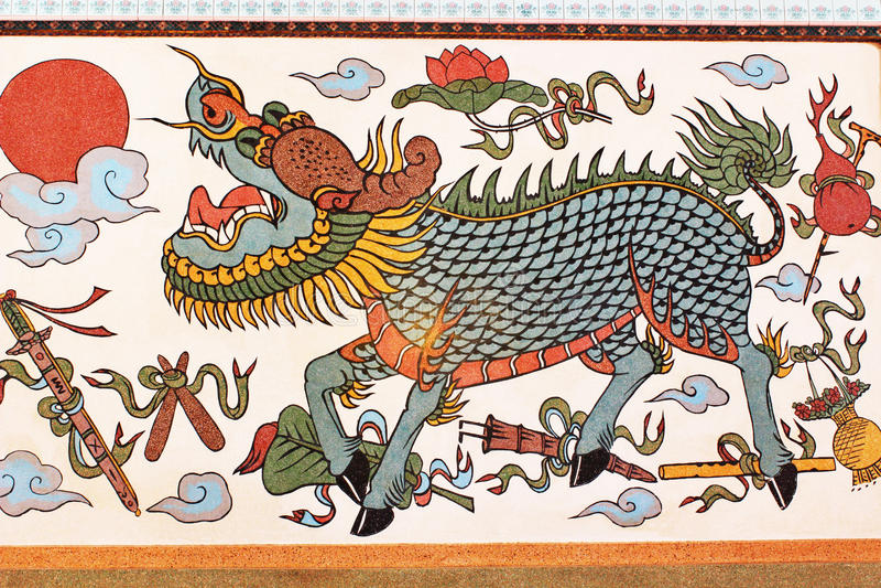Mural de Gilan del templo de Bhuttasothorn foto de archivo