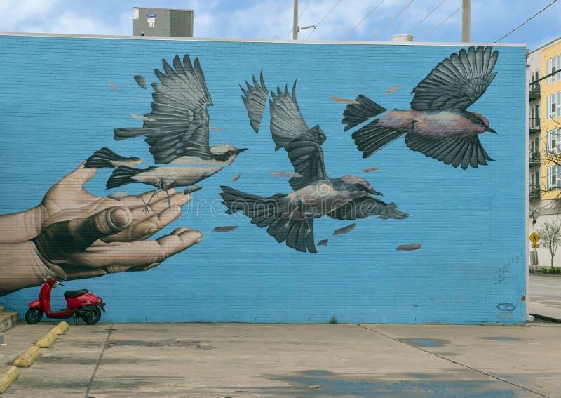 Mural de James Bullough Trinity Groves, Dallas, Tejas foto de archivo libre de regalías