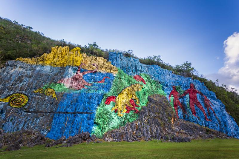 Mural DE La Prehistoria, Vinales, Unesco, Pinar del Rio Province royalty-vrije stock foto