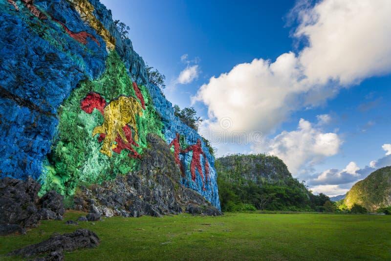Mural de la Prehistoria, Vinales, la UNESCO, Pinar del Rio Province imagenes de archivo