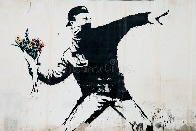 Mural de la protesta de Banksy en Palestina fotografía de archivo