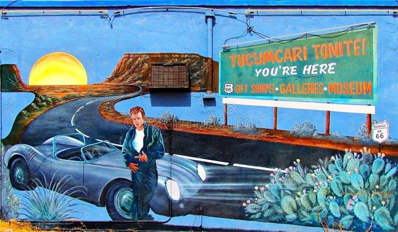 Mural de la ruta 66 en Tucumcari, New México fotografía de archivo