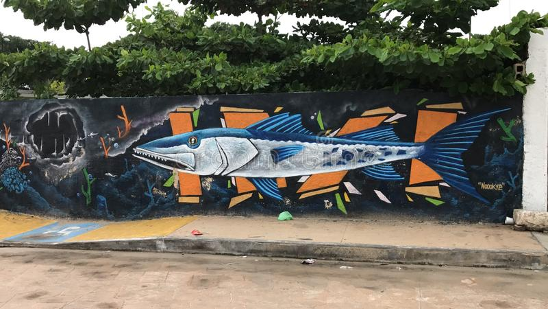 Download Mural de los pescados foto editorial. Imagen de playa - 100533106