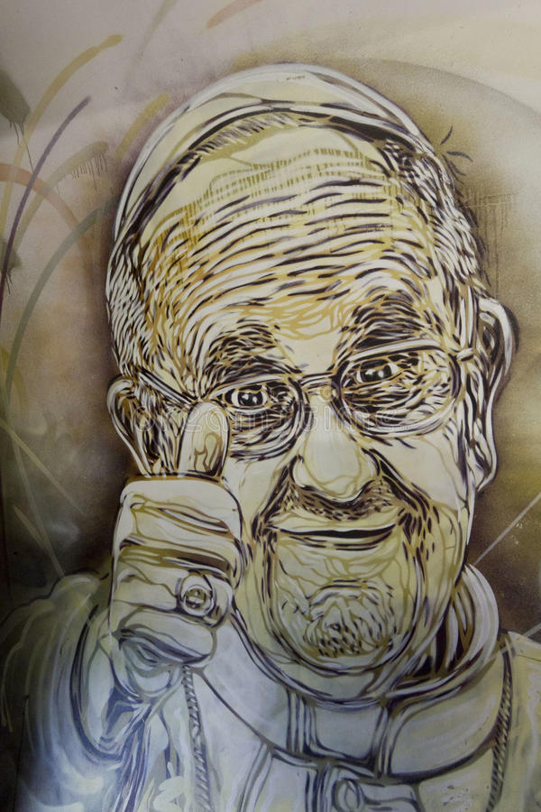 Mural de papa Francisco libre illustration