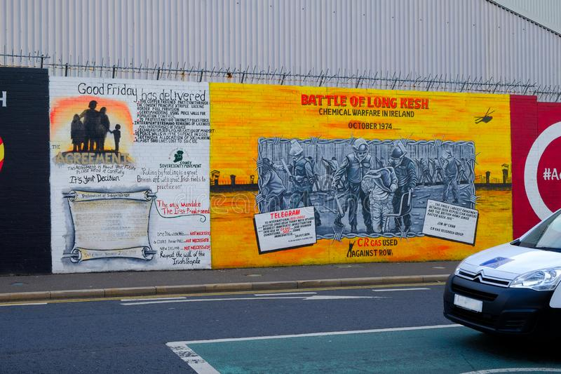 Mural dedicated to the Battle of Long Kesh, Belfast, Ulster. stock photo