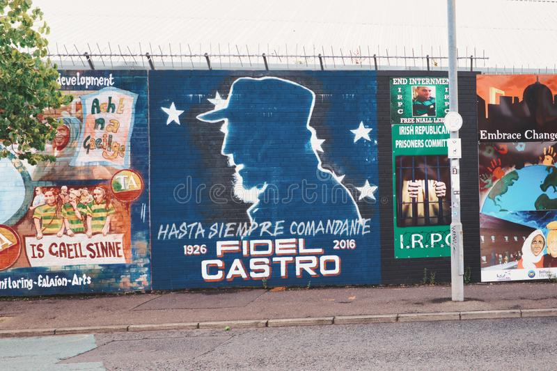 Mural dedicated to Fidel Castro, Belfast, Ulster. royalty free stock photos