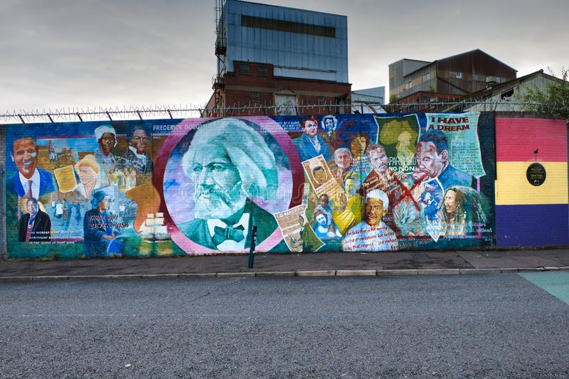 Mural dedicated to important historical figures who fought for freedom and equality of peoples, Belfast, Ulster. royalty free stock images