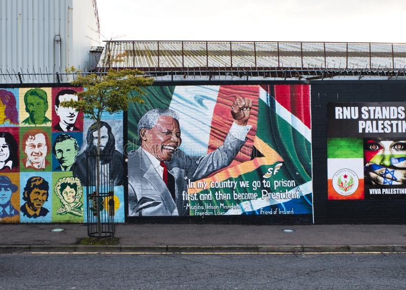 Mural dedicated to Nelson Mandela, important historical figure who fought for freedom and equality of his people, Belfast, Ulster. royalty free stock image