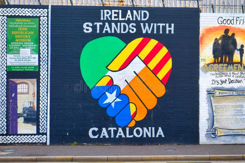 Mural dedicated to Northern Ireland`s solidarity with Catalonia, Belfast, Ulster. stock image