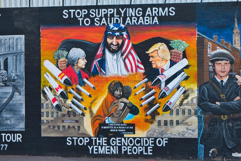 Mural dedicated to Northern Ireland`s solidarity with the Yemeni people, fought by Saudi Arabia, Belfast, Ulster. royalty free stock photos
