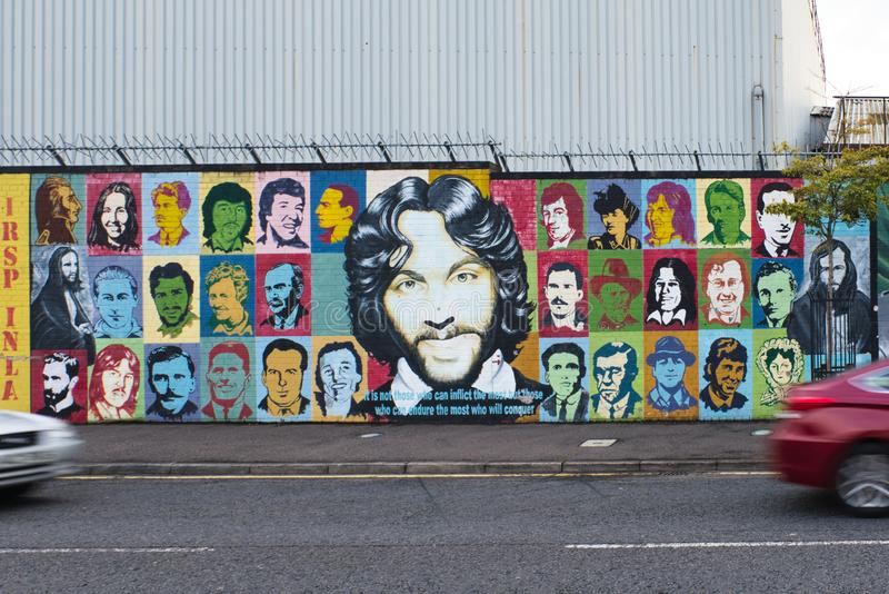 Mural dedicated to Ulster`s important historical figures, Belfast, Ulster. royalty free stock photography