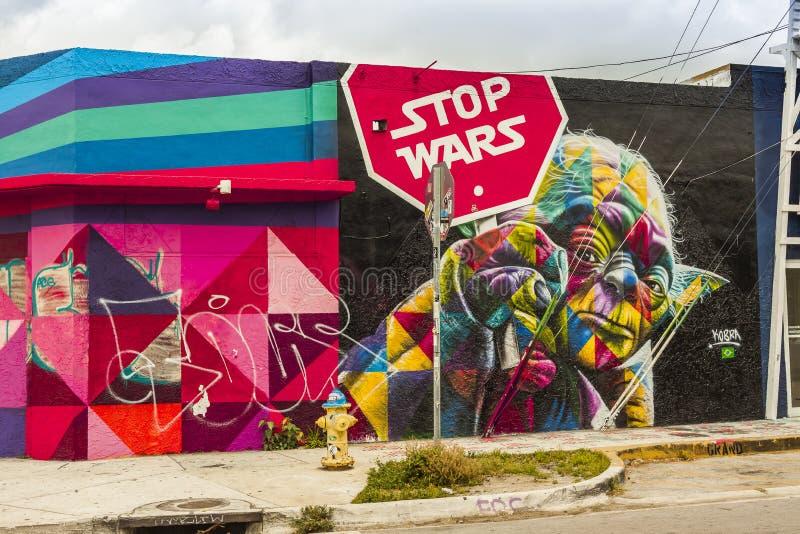Mural del arte de las Guerras de las Galaxias en el distrito de los artes de Wynwood Miami fotografía de archivo libre de regalías