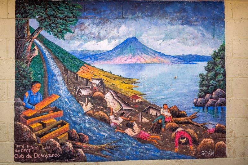 Mural depicting Mayan history of natural disasters in Guatemala. San Juan La Laguna, Guatemala -March 1, 2016: Mural depicting Mayan history of natural disasters royalty free stock images