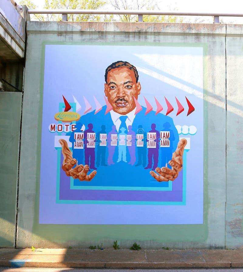 Martin King Jr. On A Bridge Underpass On James Rd in Memphis, Tn stock photography