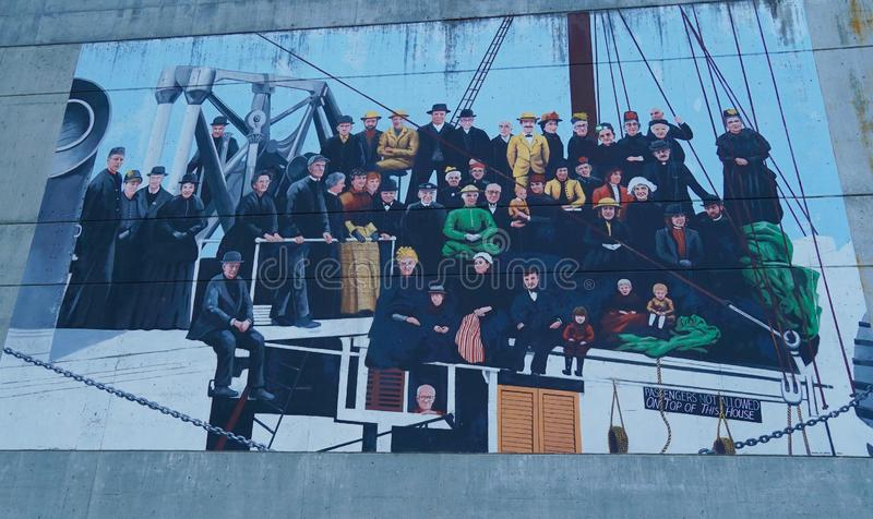 Mural of Early Boat Passengers stock photo