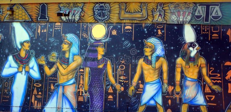 Mural of egyptian gods royalty free illustration