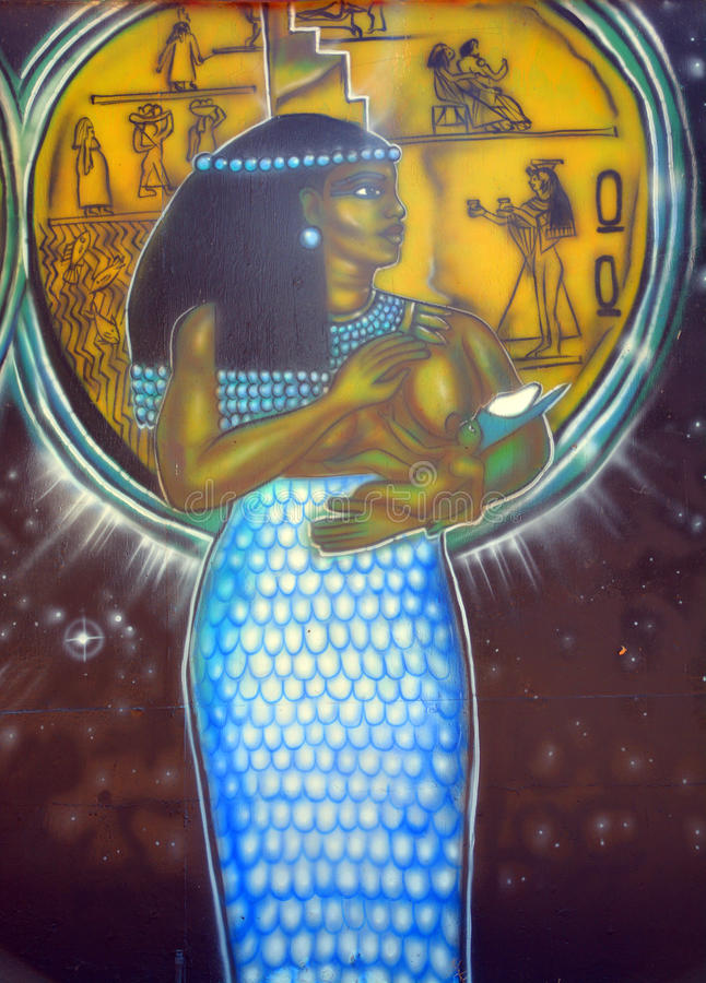 Mural of egyptian gods stock images