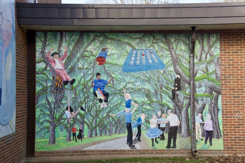 Mural en el centro de la comunidad de Gaisman, Memphis Park Commission imagenes de archivo