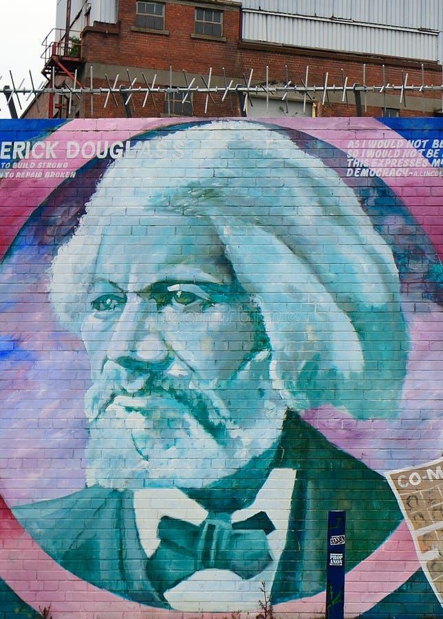 Mural with Frederick Douglass, Belfast, Northern Ireland stock photos