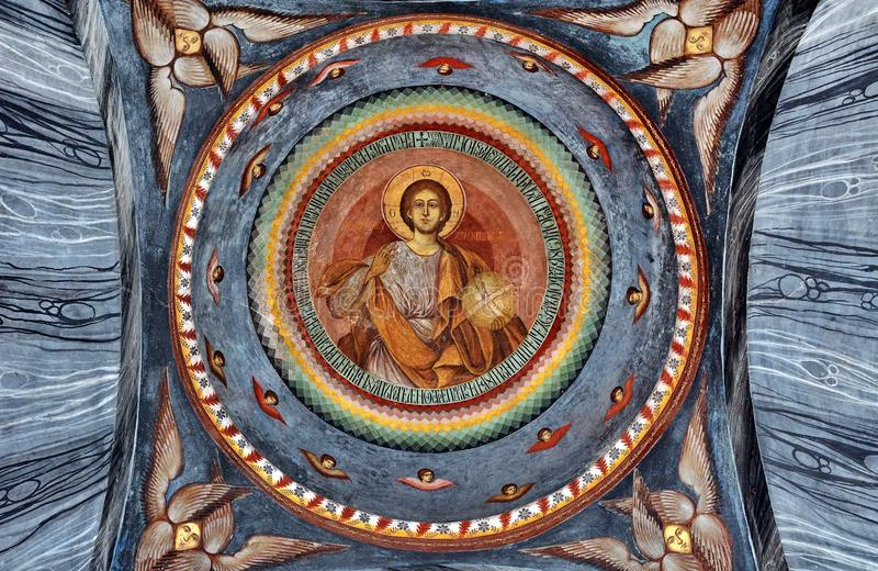 Mural Fresco at monastery stock image