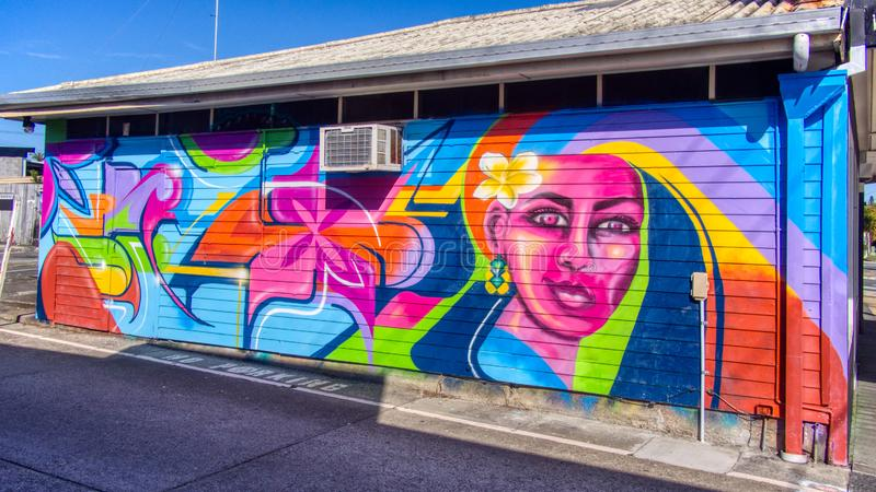 Mural graffiti wall art of a colourful lady with flower in car park area royalty free stock photos