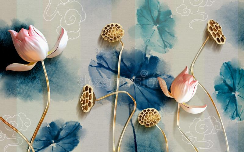 mural Illustration of beautiful White flower decorative on gray wall background 3D wallpaper. Graphical modern art with golden flo royalty free illustration