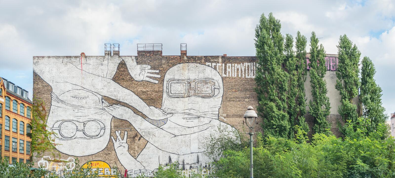 Mural in Kreuzberg, Berlin stock image
