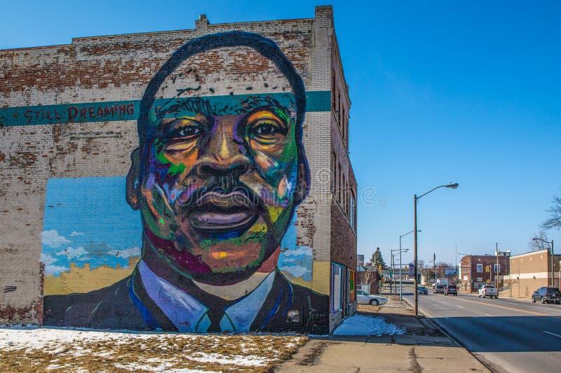 Martin Luther King mural on Toledo Ohio stock photo