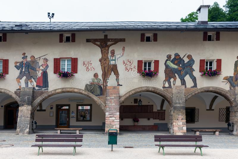 Mural and monument world war one and two, Berchtesgaden Gerrmany stock photography