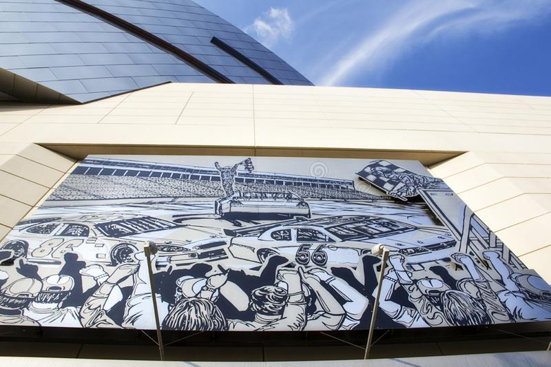 Mural on the Nascar hall of fame building in Charlotte North Carolina. A picture of a mural on the Nascar hall of fame building in Charlotte North Carolina stock photos