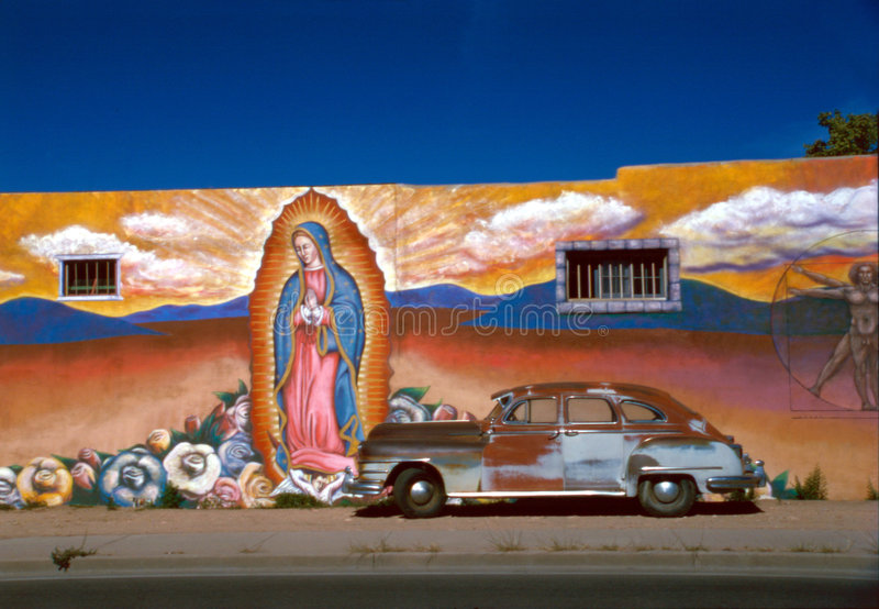Download Mural with Old Car stock photo. Image of fresco, street - 1850850