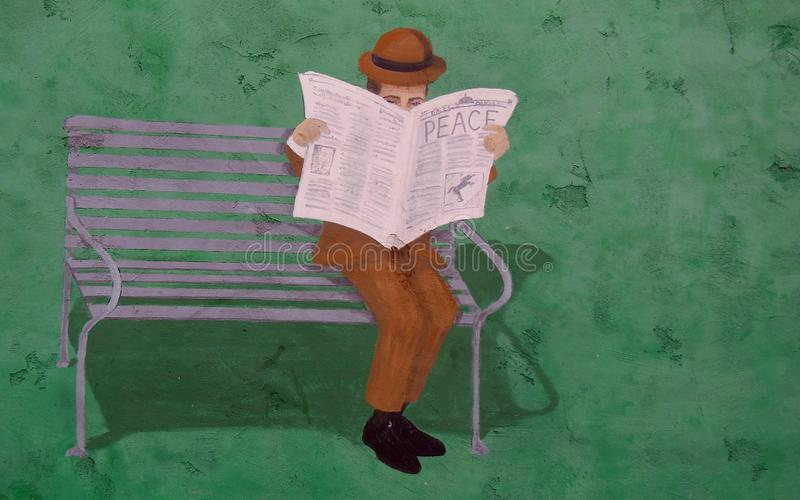 Mural on Outside of Building Wall. Mural on outside of a building wall in Hollywood, California.  Man sitting on bench reading a paper with the headlines that stock illustration