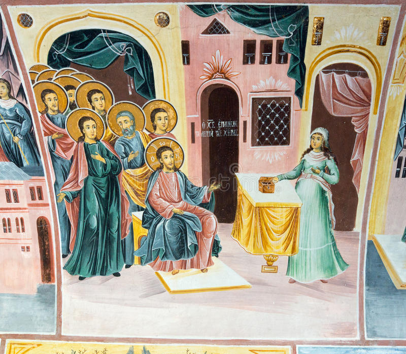 Mural painting in Bachkovo Monastery in Bulgaria. Bachkovo Monastery - the second eminence Orthodox monastery in Bulgaria. Located Bachkovsky monastery in the stock image