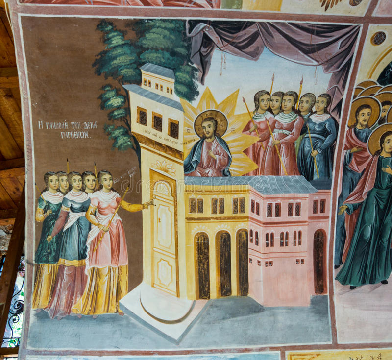 Mural painting in Bachkovo Monastery in Bulgaria. Bachkovo Monastery - the second eminence Orthodox monastery in Bulgaria. Located Bachkovsky monastery in the royalty free stock photo