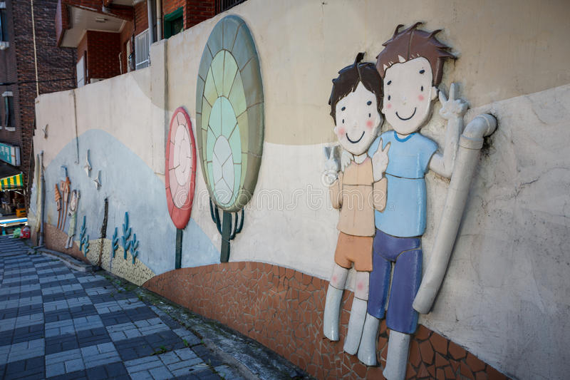 Mural Painting at Gamcheon Culture Village royalty free stock photo