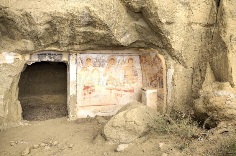 Mural painting 13th century, David Gareja and Udabno monastery. Kakheti, Georgia stock photography