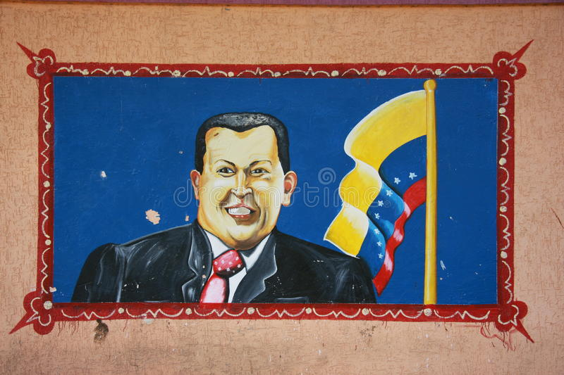 Mural of the president of Venezuela . A popular view of the leader of the Bolivarian Revolution, Chavez as seen from the front of the office of the socialist royalty free stock photo