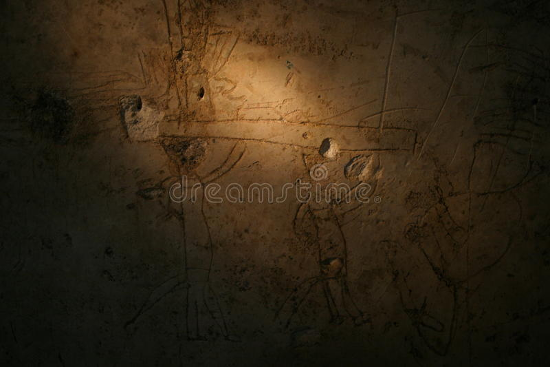 Mural in a residence in Mayan City of Nakum. A mural is seen in the residence in the ancient Mayan city of Nakum, in Petén, Guatemala. The date of December 21 stock photo