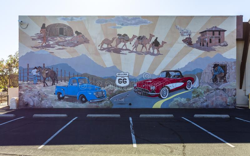 Mural on Route 66, Kingman, Arizona, United States of America, North America. Kingsman, USA - MAY 26, 2018: Mural on Route 66, Kingman, Arizona United States of stock photos