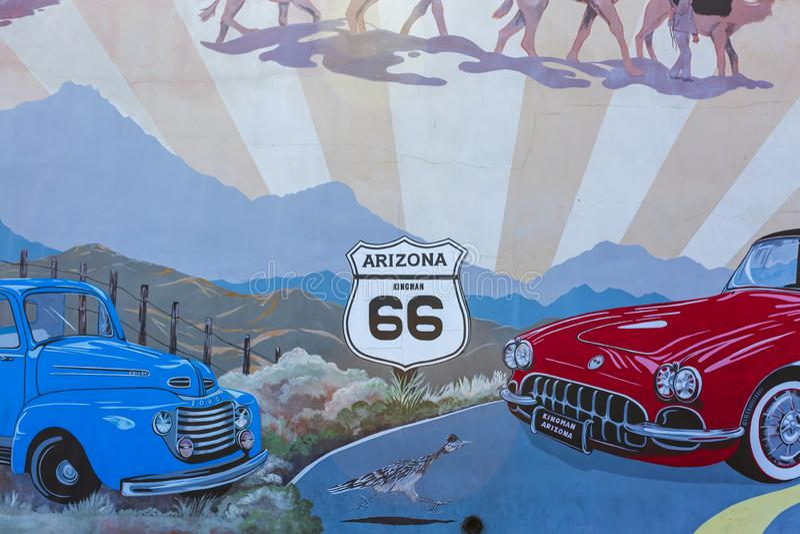Mural on Route 66, Kingman, Arizona, United States of America, North America. Kingsman, USA - MAY 26, 2018: Mural on Route 66, Kingman, Arizona United States of royalty free stock images