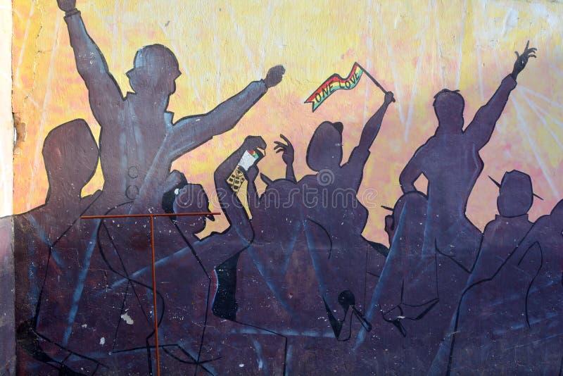 Mural tells the story of Swakopmund stock photography