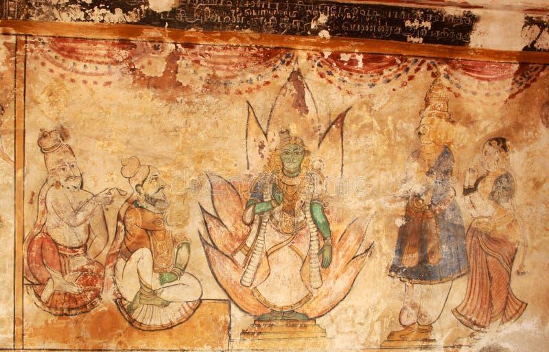 Mural viejo del kamatchi Amman de dios con los devotos en una pared en el templo antiguo de Brihadisvara en Thanjavur, la India foto de archivo