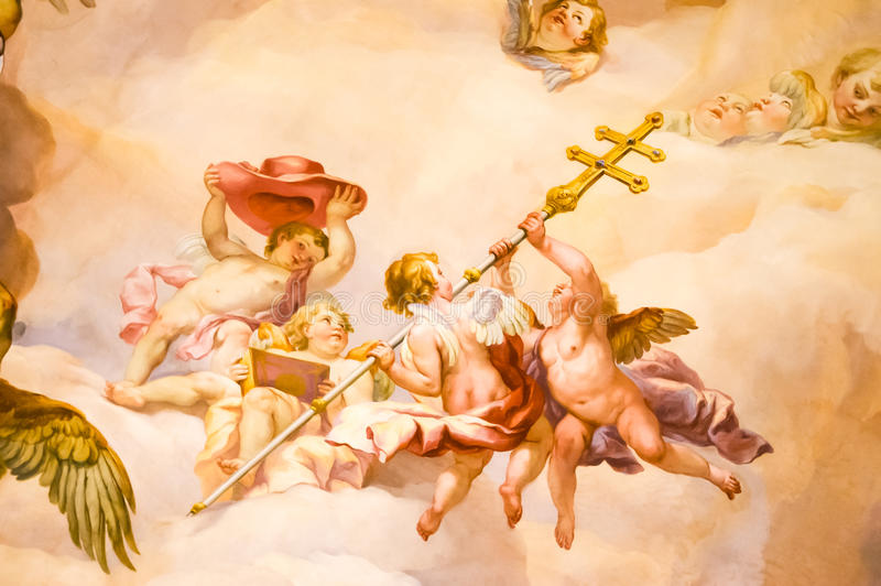 Mural on the wall in Karlskirche. Mural on a wall in the Karlskirche temple in Vienna, Austria royalty free stock photo