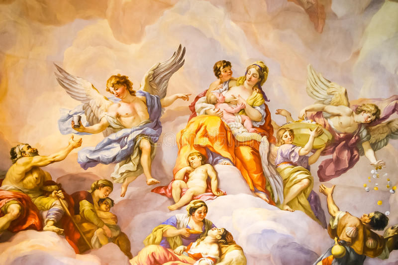 Mural on the wall in Karlskirche. Mural on a wall in the Karlskirche temple in Vienna, Austria royalty free stock image
