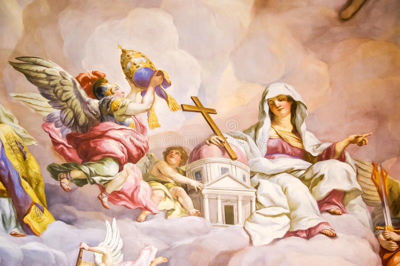 Mural on the wall in Karlskirche. Mural on a wall in the Karlskirche temple in Vienna, Austria stock photography