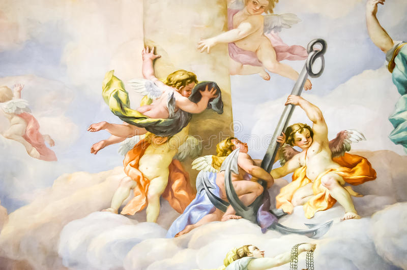 Mural on the wall in Karlskirche. Mural on a wall in the Karlskirche temple in Vienna, Austria stock photos