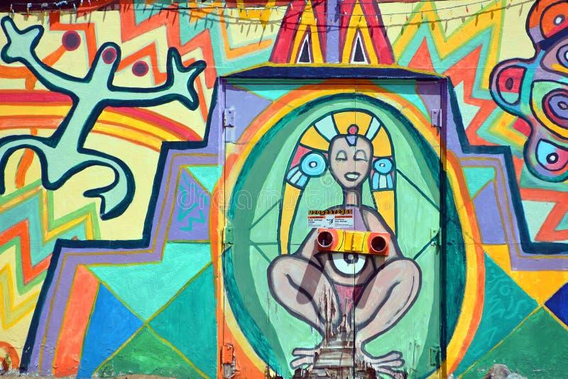 Murale azteco del dio illustrazione vettoriale