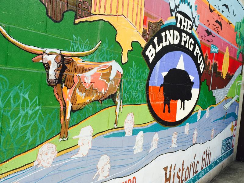 Murale cieco della parete del pub del maiale fotografie stock