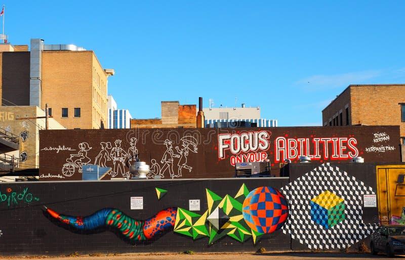 Murale Colourful a Saskatoon del centro Saskatchewan immagini stock