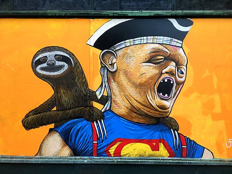 Murale del bradipo dal film 1985 di Goonies fotografie stock